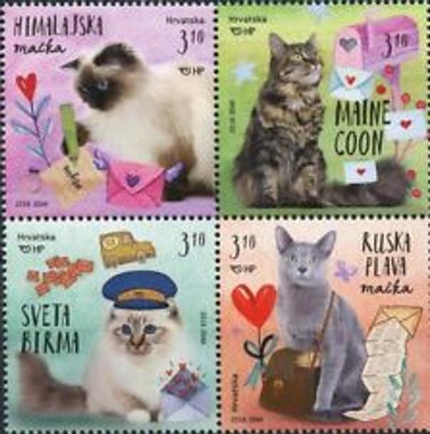 CROATIA (2018) Colorful Cats ,Birman ,Maine Coon (4v)
