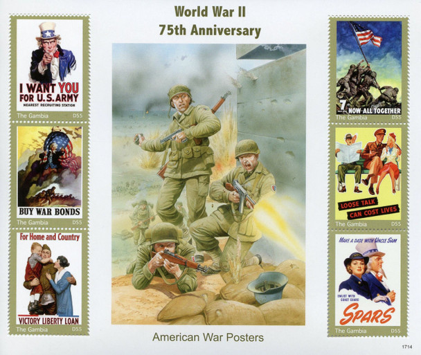 GAMBIA (2018)- WWII WAR POSTERS SHEET OF 6v