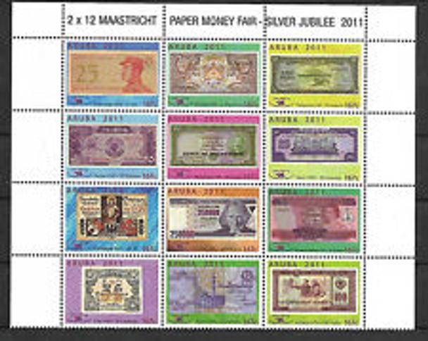 ARUBA (2011) Paper Money Fair,Silver Jubilee Block (12v)
