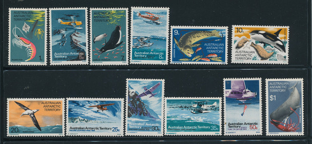 AUSTRALIAN ANTARCTIC TERRITORY (1973)- FOOD CHAIN & TRANSPORT DEFINITIVES - 12 VALUES