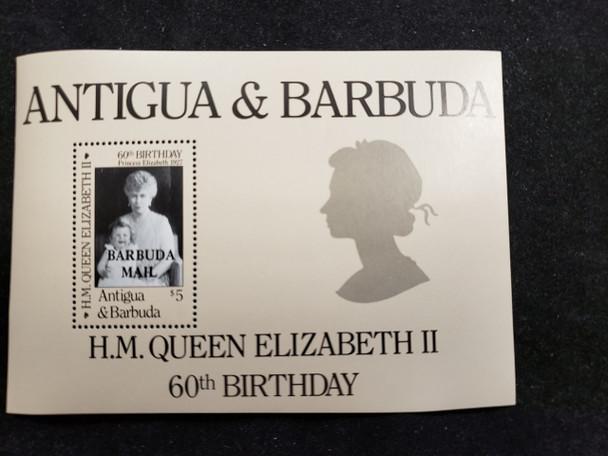 BARBUDA  (1986) Queen Elizabeth 60th BDAY SS