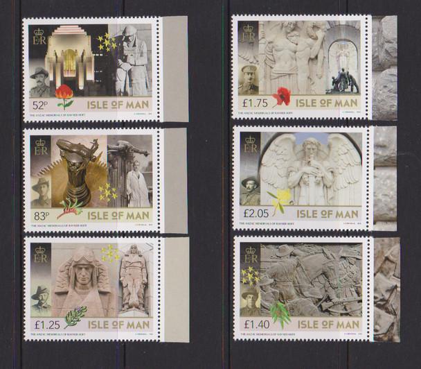 ISLE OF MAN - ANZAC MEMORIALS OF RAYNER HOFF (6v)