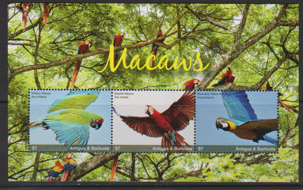 ANTIGUA 92018)- MACAWS (BIRDS) SHEET OF 3v