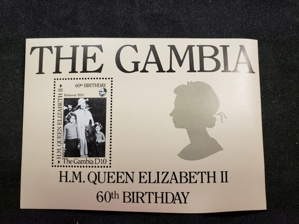 GAMBIA  (1986) QEII  60th Birthday  SS