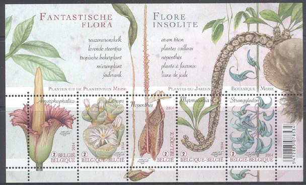 BELGIUM (2014) : Unusual Flora- Sheet of 5