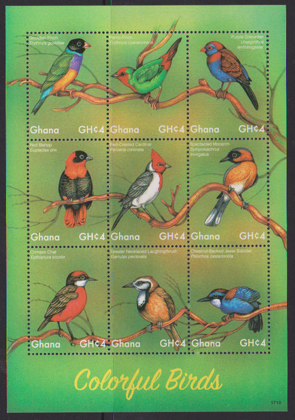 GHANA (2018)- Colorful Bird Sheet of 9 values