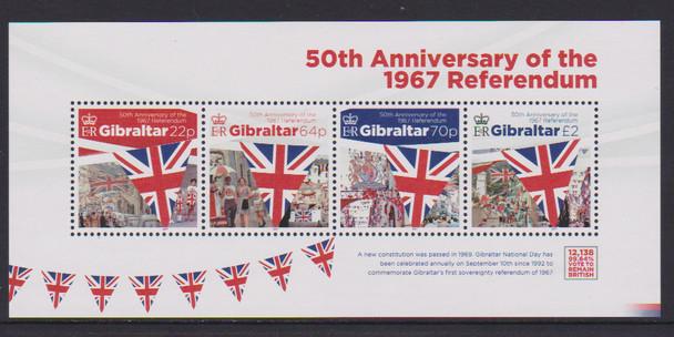GIBRALTAR (2017)- 50TH ANNIVERSARY OF 1967 REFERENDUM SHEET OF 4v