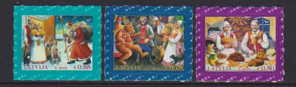 LATVIA (2018)- CHRISTMAS- DANCING BEAR, SANTA, ETC. (3V)
