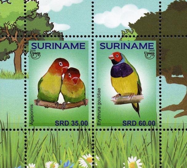 SURINAME (2018) UPAE TOURISM- LOVE BIRDS SHEET OF 2v