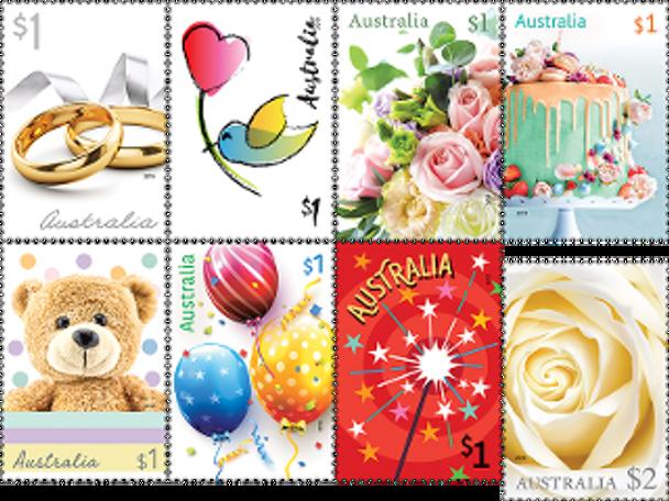 AUSTRALIA (2019)- SPECIAL OCCASSIONS (8v)- Roses, rings, teddy bear, etc.