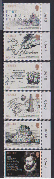 JERSEY (2019)- SIR WALTER RALEIGH (6v)- Ships, maps, etc.