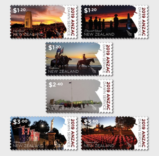 NEW ZEALAND (2019)- DAWN MEMORIAL SERVICES (WWI)- 6v