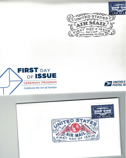 USPS (2018)- AIR MAIL ANNIVERSARY FIRST DAY COVER & CEREMONY PROGRAM