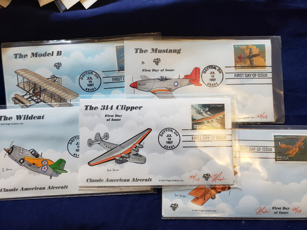 US FDC 1997 Classic Aircraft Set of 20 Jack Follows Art, Pugh Cachet Covers Limited Quantity FDC HP