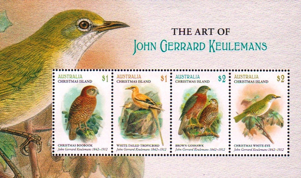 CHRISTMAS ISLAND (2018)- JOHN GERRARD- BIRD PAINTINGS SHEET OF 4v