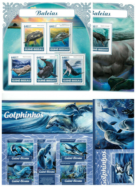 GUINEA BISSAU (2017) - WHALES & DOLPHINS DELUXE SHEETS & SOUVENIR SHEETS (4)