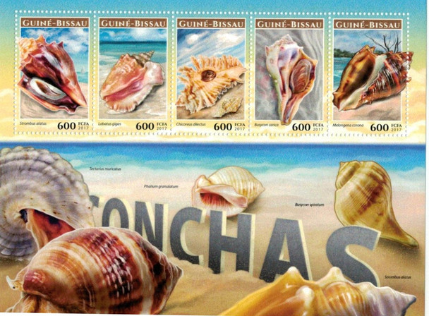 GUINEE BISSEAU (2017)- SEA SHELLS DELUXE SHEET OF 5v