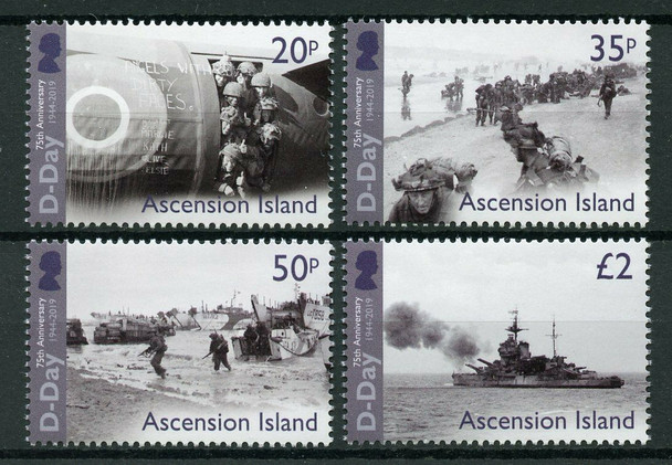 ASCENSION ISLAND (2019)- WWII D-DAY ANNIVERSARY (4V)- Ships, Soliders