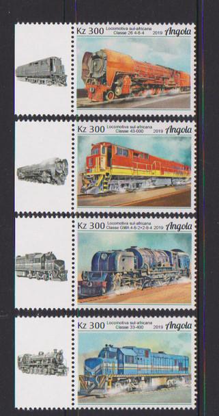 ANGOLA (2019)- Trains- Set of 4 & souvenir sheet