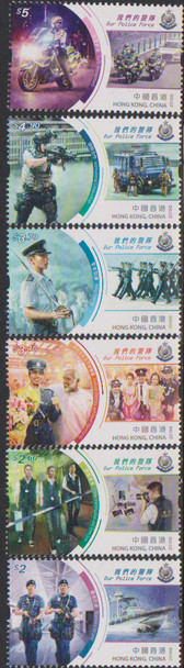 HONG KONG (2019) - POLICE - 6v & SOUVENIR SHEET- Helicopters, Dogs, etc.