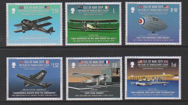 ISLE OF MAN- Transatlantic Air Flight Anniversary- 6 values