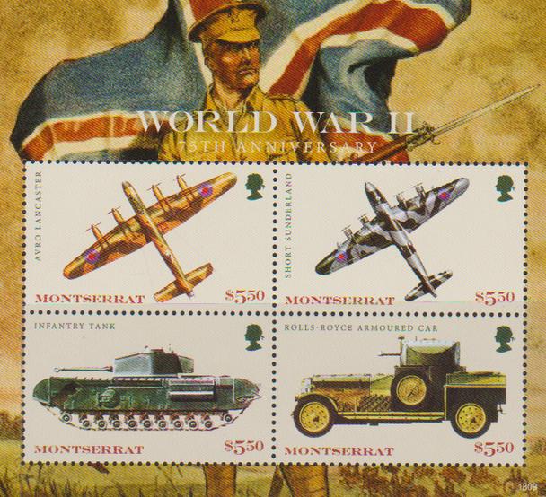 MONTSERRAT (2019)- WWII AIRCRAFT- SHEET OF 4v & S.S.