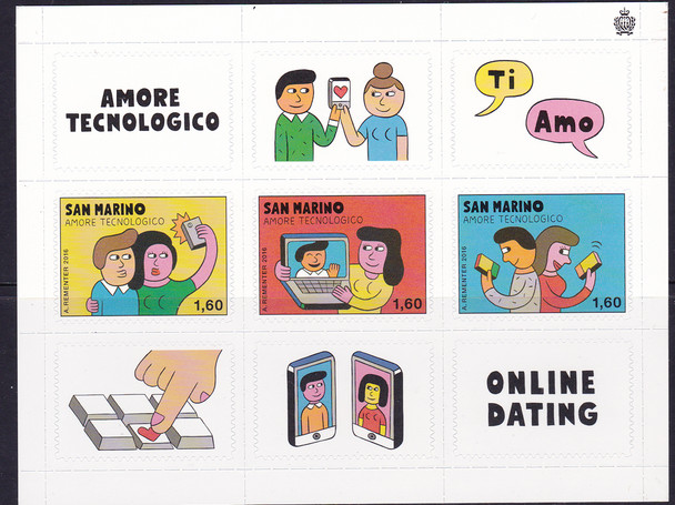 SAN MARINO (2016)- ON-LINE DATING (CARTOONS) SHEET OF  3v