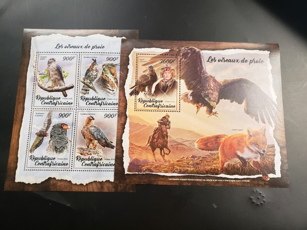 CENTRAL AFRICA REPUBLIC (2018) Birds of Prey Sheet and SS