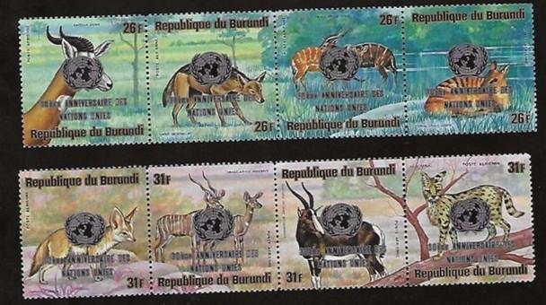 BURUNDI (1975)- Animals (8v) w/UN Anniversary Overprint- SCV>$30!