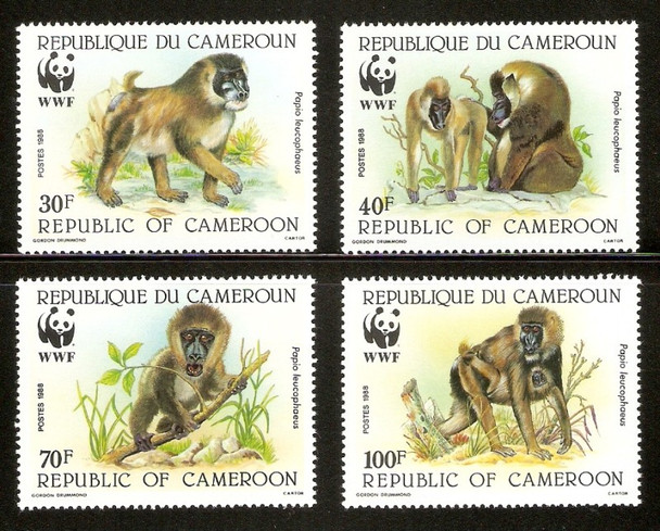 CAMEROON (1988)- MONKEYS (4 VALUES)