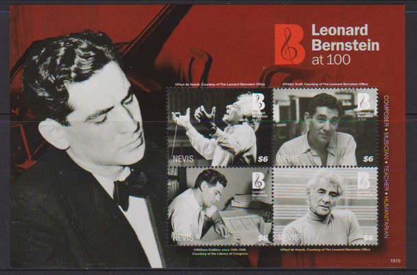 NEVIS (2019)- Leonard Bernstein Sheet of 4v