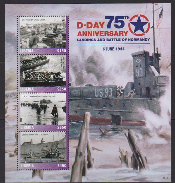 LIBERIA (2019)- WWII D-DAY 75TH ANNIVERSARY SHEET & SOUVENIR SHEET
