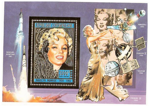 CENTRAL AFRICAN REP (1996).-Marilyn Monroe Gold Foil Souvenir Sheet w/Space Achievements