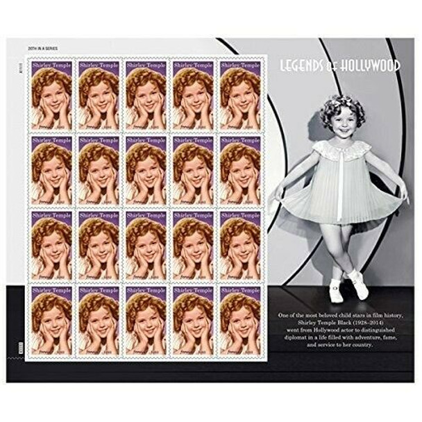 """US (2011)- Shirley Temple- """"Legends of Hollywood"""" Sheet of 20 Forever Stamps"""
