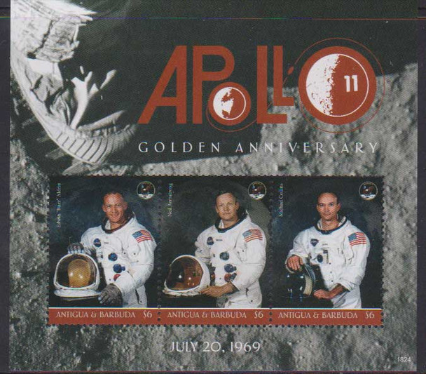 ANTIGUA (2019)- MOON LANDING ANNIVERSARY SHEET OF 3 & SOUVENIR SHEET