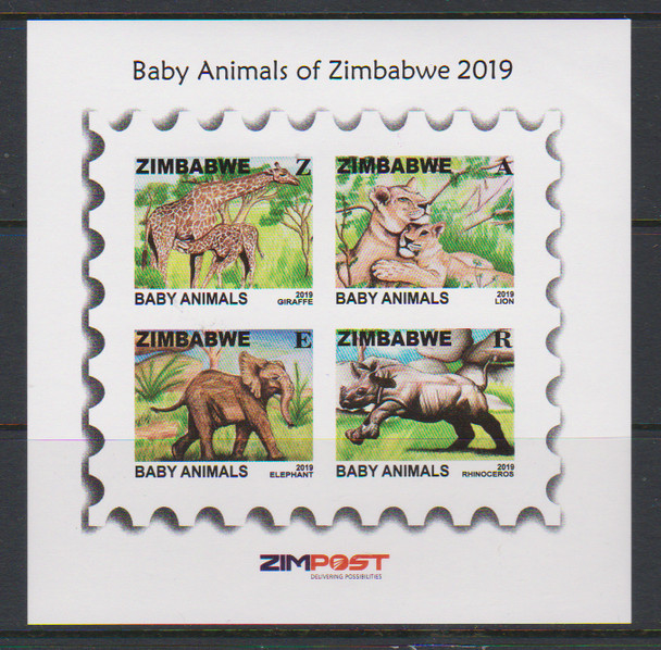 ZIMBABWE (2019)- Baby Animals Sheet of 4v