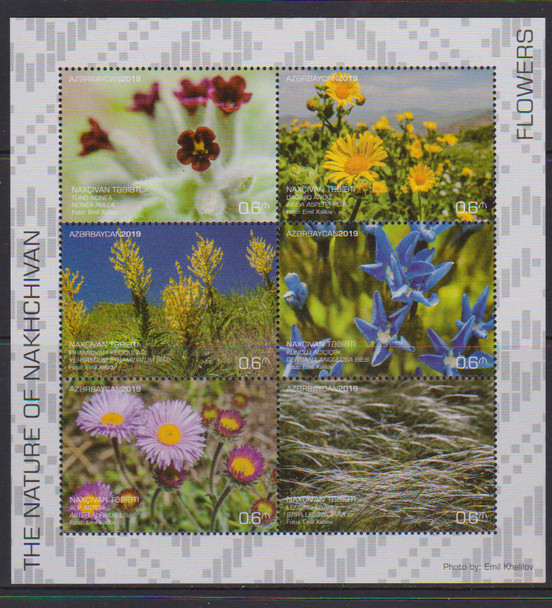 AZERBAIJAN (2019)- Flowers & Grasses - Sheet of 6 & 2 s.s.