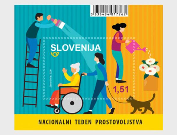 SLOVENIA (2020)- Volunteer Week Souvenir Sheet- dog walking, wheelchair, etc.