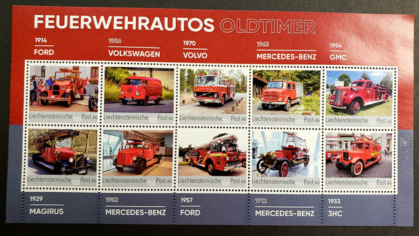 LIECHTENSTEIN (2020) Old Time Fire Trucks Sheet LAST ONE