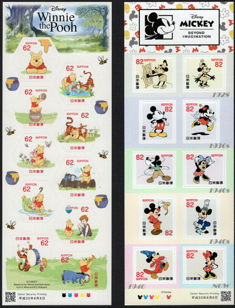 JAPAN (2020)- DISNEY MICKEY MOUSE & POOH BEAR SHEETS (2)