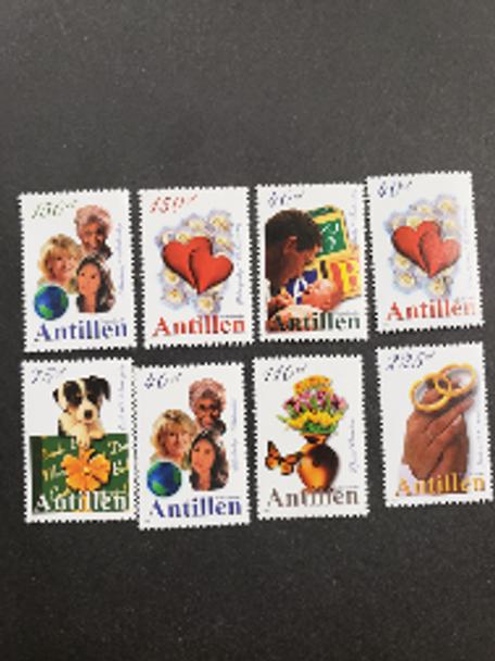 NETHERLANDS ANTILLES (2000) Greetings ,Dog, Flowers,Hearts (8v)