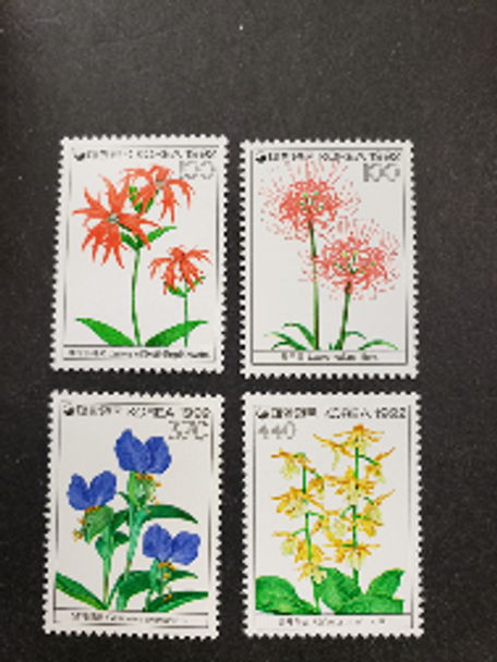 KOREA (1992) Short Set Flowers sc1605-8