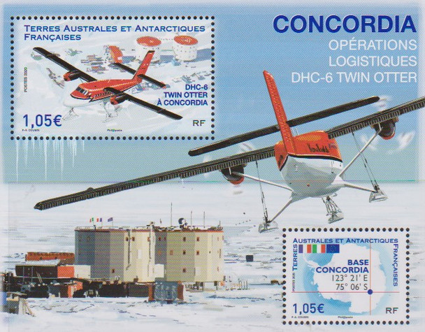 FRENCH S. ANTARCTIC TERRITORY (2020)- CONCORDIA BASE SHEET-TWIN OTTER PLANE