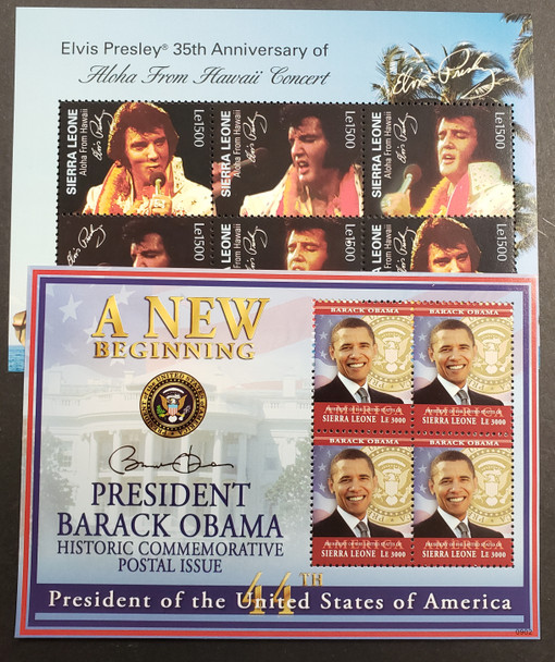 SIERRA LEONE Small Collection Of Souvenir Sheets Topicals  Space Elvis Obama QEII  Bees , includes 2 Gold Foils Our Original Retail $135