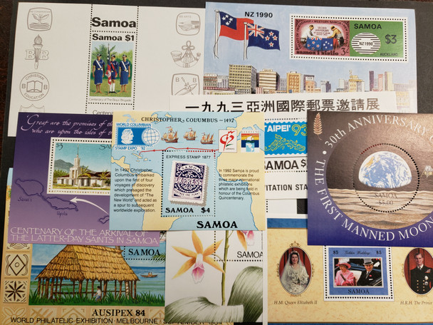 SAMOA Small Collection Of Souvenir Sheets Various Topics QEII, Space, Scouting and Other Our Original Retail $52