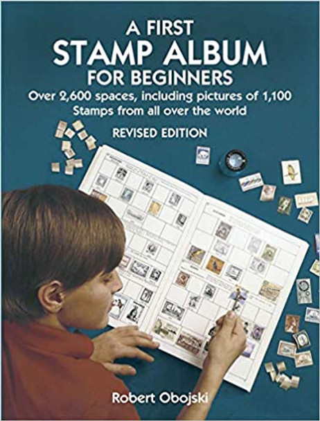 BEGINNER STAMP ALBUM W/100 WORLDWIDE STAMPS- GREAT FOR KIDS OF ALL AGES