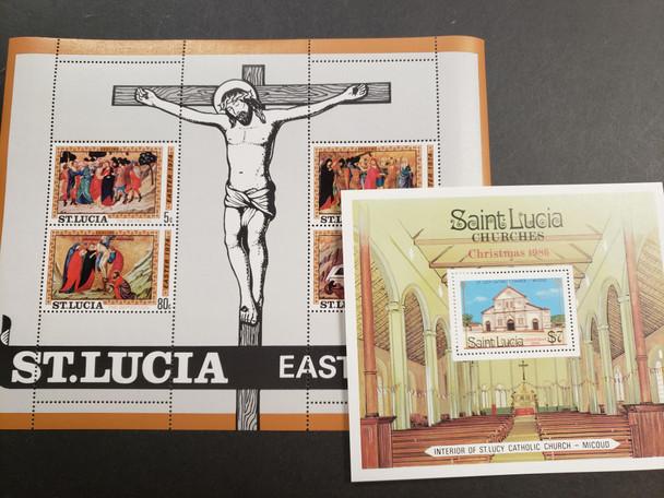 ST LUCIA Souvenir Sheet Blowout 18 Different 40c each !