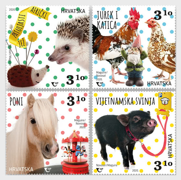 CROATIA (2020)- PYGMY ANIMALS- PIG, ROOSTER, ETC. (4v)