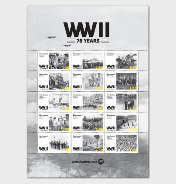 NEW ZEALAND (2020)- WWII- 75 Years (Sheet of 15v)