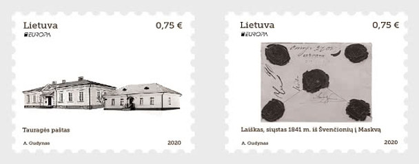 LITHUANIA (2002)- Europa Issue- Ancient Postal Routes (2v)